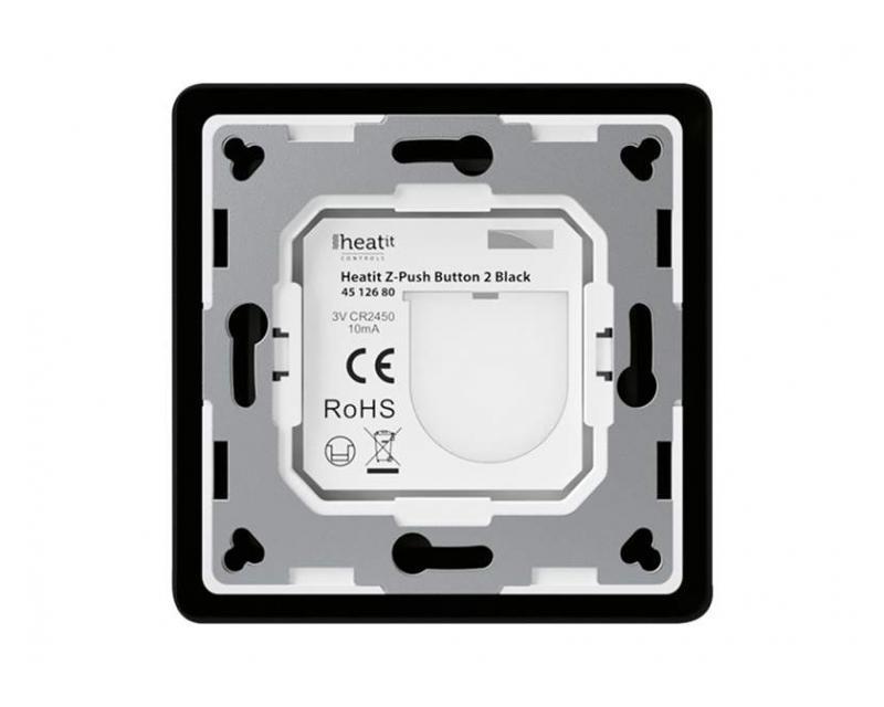 Heatit Z-Push Button 2 Fekete Z-wave okos fali kapcsoló