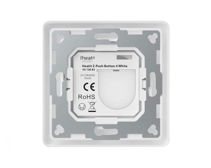 Heatit Z-Push Button 4 Fehér Z-wave okos fali kapcsoló