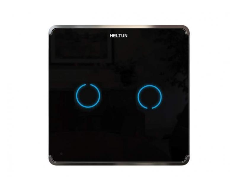 Heltun Touch Panel Switch Duo Fekete-ezüst okos fali kapcsoló HE-TPS02-SK