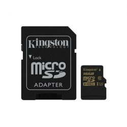 KINGSTON Memóriakártya MicroSDHC 16GB CLASS U3 UHS-I Gold (90/45) + Adapter