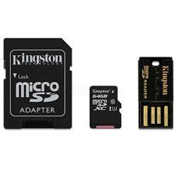 KINGSTON Memóriakártya MicroSDHC 64GB CLASS 10 + kártyaolvasó
